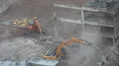 4K Aerial view industrial excavator machine work dangerous demolish destroy day Stock Footage