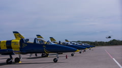 Air show airplanes parked on airfield Stock Footage