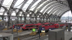 4K Aerial view Dresden train station modern carriage Germany rail transport day  - stock footage