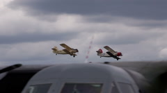 Three old double winged planes in air Stock Footage