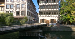 Petite France is a historic quarter of the city of Strasbourg, moving bridge - stock footage