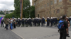 Police forces safeguard the perimeter of the gay pride itinerary in Stuttgart Stock Footage