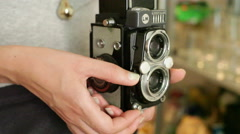 Using an old vintage Yashica medium format camera, close up Stock Footage