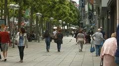 People walking on Konigstrasse, Stuttgart Stock Footage