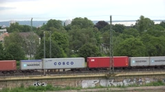 4K Aerial view cargo train pass railway countryland international goods import  Stock Footage