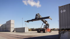 Container Handler Moving Container in Logistic Center Stock Footage