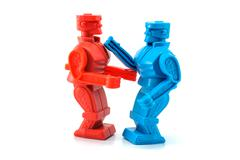 Robot toy fighting Stock Photos