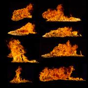 High resolution fire collection on black background - stock illustration