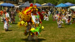 Native Americans dancing at Pow Wow Stock Footage
