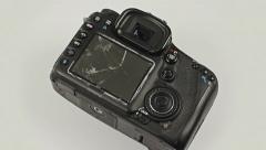 Broken and disassembled DSLR photocamera, close up rotation. Stock Footage