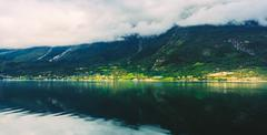 Hardangerfjord is the fourth longest fjord in the world, and the - stock photo