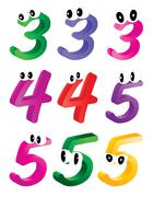 Image of cartoon number, digit three, four, five with eyes. Funny, cheerful a - stock illustration