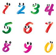 Stock Illustration of Set of cartoon numbers, digits with eyes. Funny, cheerful and colorful illust