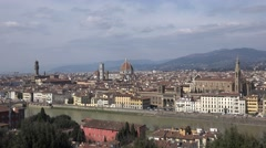 4K Aerial view Florence famous landmark cathedral tower church dome cityscape  Stock Footage
