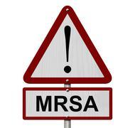 MRSA Caution Sign - stock illustration