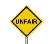Unfair Caution Road Sign - stock illustration