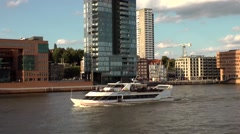 Germany Europe Hamburg 021 shipping on Elbe river along shore of Altona Stock Footage