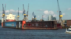 Germany Europe Hamburg 017 floating dock and cranes of big shipyard Stock Footage