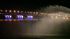 Fountain river night Stock Footage