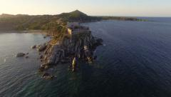AERIAL: Flying over ancient coastal fortress - stock footage