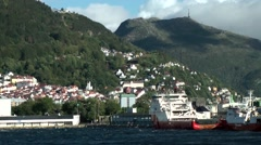 North Europe Norway City Of Bergen 124 Ulriken mountain behind the harbor Stock Footage