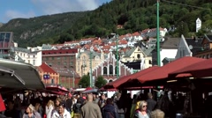 North Europe Norway City Of Bergen 122 many people on fish market - stock footage