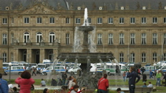 Beautiful fountain in front of Ministry of Finance and Economy, Stuttgart Stock Footage