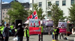 North Europe Norway City Of Bergen 116 political demonstration in city center Stock Footage
