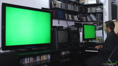 Work on computer at home,green screen 01 Stock Footage