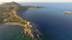 AERIAL: Flying over ancient coastal fortress Stock Footage