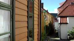 North Europe Norway City Of Bergen 107 small alley between Scandinavian houses Stock Footage