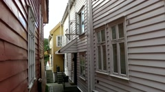 North Europe Norway City Of Bergen 105 backyard of wooden houses Stock Footage