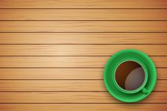 Cup of coffee or tea on the table dark wood - stock illustration