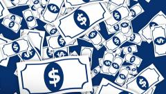 4k Falling Dollar Notes Seamless Loop Animation Top View with 2d Graphic Style. Stock Footage