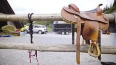 Sliding in front western saddle 4K Stock Footage