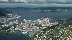 North Europe Norway City Of Bergen 093 fjord,town and harbor from above Stock Footage