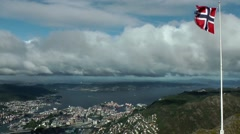 North Europe Norway City Of Bergen 092 town and Byfjord from above Stock Footage