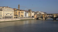 4K Beautiful Florence city panorama Old Bridge popular sightseeing tourism icon Stock Footage