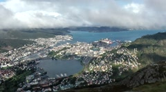 North Europe Norway City Of Bergen 084 town + Byfjord seen from Ulriken mountain Stock Footage