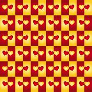 Background with red and yellow hearts Stock Illustration