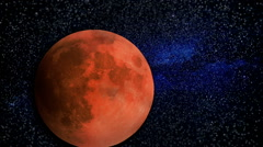 Blood Moon with Stars and Clouds Video Timelapse Stock Footage