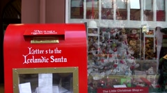 Iceland city of Reykjavik 068 red letterbox for mail to Santa Claus Stock Footage