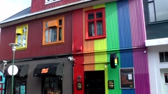 Iceland city of Reykjavik 062 colorful gay bar in downtown - stock footage