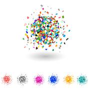 Vector color explosion. Set. - stock illustration