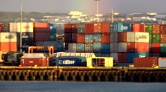 Iceland city of Reykjavik 045 pier of container port in fantastic colors Stock Footage
