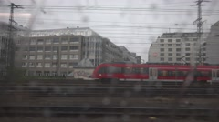 4K POV Point of view train arrive city station bad weather heavy rain drop fall  Stock Footage