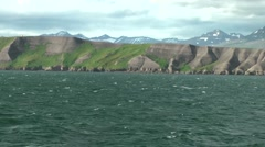 Iceland various impressions 003 rustic green and grey steep coast Stock Footage