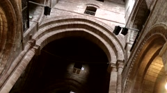 Scotland Orkney Islands Kirkwall 039 gothic arches in St. Magnus Cathedral nave Stock Footage
