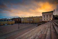 View of Senaatintori, Senate Square at sunset, in Helsinki, Finland. Stock Photos