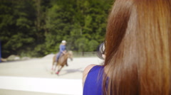 Professional photographer take picture of western rider 4K Stock Footage